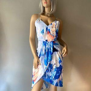 Chelsea28 Blue Printed Faux Wrap Midi Dress Size 8